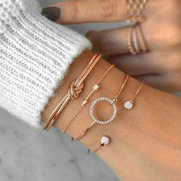 paar armband set leder Rabatt 4 teile / satz Modeschmuck Armband Gold Silber Kreis Legierung Leder Pfeil Casual Frauen und Herren Armbänder Armreif Paar armbänder set