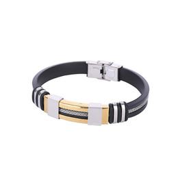 Canada BRICOLAGE ID Bracelets En Gros Argent Or Femmes Bracelets De Mode À La Main Européenne Silicone Titane acier inoxydable bracelet Offre