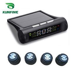 codice pin chiave del chrysler Sconti Smart Car TPMS Sistema di monitoraggio della pressione dei pneumatici Energia solare TPMS Display LCD digitale Sistemi di allarme di sicurezza automatica KF-A1088