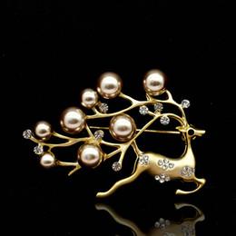 Wholesale reindeer brooch - New Reindeer Deer Head Brooch Handmade Christmas Brooches Jewelry