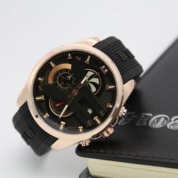 Wholesale Geneva Watch Man - 2018 Luxury Brand Men Luxury Watches Geneva Sport 30m Water Silicone strap Watch Stopwatch All Subdials Work Relogio Masculino marque