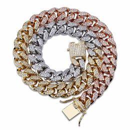 cadena de oro rosa miami cubana Rebajas 12 mm Iced Out Zircon Miami Cuban Link Collar Gargantilla Plata Rosa Color Oro Cadena Hip Hop Joyería