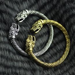 Vikingos de oro online-Wicca Amuleto Solomon Pagan Joyería Plata o Oro Vikingo Pagano Gótico Lobo Cabeza de Peltre Pulsera Nórdica Joyería Tótem Vikingo Pulsera KKA1900