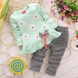 Wholesale Plaid Tutu - Children Cotton Long Sleeve T-Shirts+Pants Girls 2PCS Round Collar Printed Flower Dressws Sets 2018 Baby Casual Check Trousers