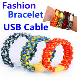 Wholesale Pink Wrist Cuffs - New Popular Micro USB Cable Bracelet Charging Data Cable Braided Wristband Wrist Cuff USB Data Charger Cord forSamsung Galaxy S7 S6 note5