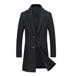 Мужское длинное черное зимнее пальто онлайн-Mens Autumn Winter Thin Wool Coat 2018  New Single Breasted Long Woolen Trench Coats Jackets Men Pea Coat Windbreaker Black
