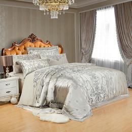 2018 Grey Silver Bettwäsche Bettwäsche aus Seide Baumwollbettwäsche Jacquard Queen King Bettbezug Set Bettwäsche Kissenbezüge von Fabrikanten