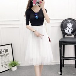 1bbb867c97c 2018 Fashion Tulle Skirts Womens Black Gray White Adult Tulle Skirt Elastic  High Waist Pleated Midi Skirt Summer Women