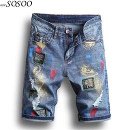 pantalones vaqueros Rebajas Denim pants knee jeans hombres rasgados jeans para hombres miedo de dios splash-ink flaco pantalones de moda # 1809
