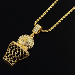 Wholesale mens long silver chain - Fashion Hip Hop Iced Out 14K Gold Plated Mini Basketball Rim Pendant Necklace Long Chain Necklaces Mens Jewelry Gold Silver 2 Colors