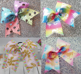 Wholesale wholesale cheer bows - 13 style available Holographic Rainbow Unicorn Cheer Bow Cheerleading Dance Hair Bow with elastic rubber band girls Hair accessories 12pcs