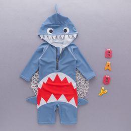 peças de pesca Desconto Bebê meninos INS Shark One-Pieces maiô com capuz 2018 novas crianças dos desenhos animados peixe nylon natação swimwear 2 ~ 7 anos B