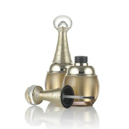 Nagelöl flaschenbürste online-10 stücke 10 ml gold luxus nagellack acryl flaschen mit pinsel runde gold flasche für nagellack ätherisches öl container pinsel