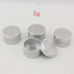 Wholesale Round Cosmetic Tins - 5g aluminum empty cosmetic container with lids 5ml small round lip balm tin solid perfume cosmetic packaging jar sample bottle