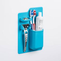 Аксессуары для ванных комнат для зубных щеток онлайн-Настенный держатель для зубной щетки с силикагелем Портативный бритвенный каркас Поддержка оригинальность Многофункциональная подставка Могучие аксессуары для ванной комнаты 9 2bs bb