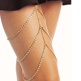 Wholesale Sexy Body Necklace - Beach Sexy Multilayer Crystal Thigh Leg Body Chain Beach 3 Layers Jewelry Belly Body Chains Waist Link Necklace for Women