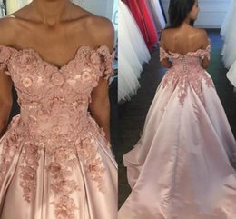 winter rose flower Australia - 2018 Rose Pink Prom Dresses Off Shoulder Lace Applique Beads Pearls 3D Flowers Corset Back Court Train Satin Formal Party Wear Evening Gowns
