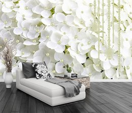 Wholesale pearls paper - Modern Abstract White Pearl Jewelry Flowers 3D Stereo Mural Wallpaper Living Room Bedroom Backdrop Art Wall Papers For Walls 3 D