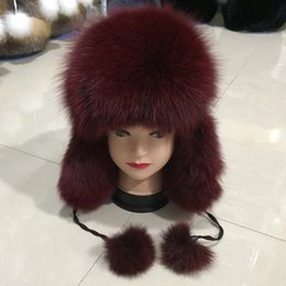 e15be705f64 Natural Fox Fur Bomber Hats Winter Warm Women Fluffy Genuine Fox Fur  Earflap Caps Luxury Quality Russian Lady Real Hat ladies russian hats for  sale