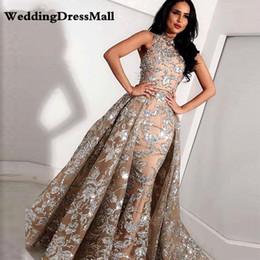 Longo Cinza Champanhe Rendas Sereia Alta Pescoço Árabe Vestidos de Noite 2019 kaftan Dubai Formal Prom Vestido com Saia Destacável de