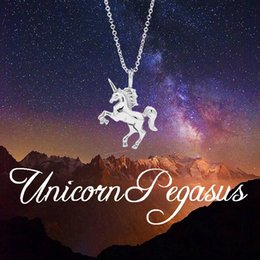 Wholesale Gold Couple Necklaces - Top quality 925 sterling silver Unicorn necklaces Luxury Gold&Silver Animal pendant Link Chains For women ladies couple Fashion Jewelry