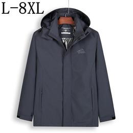 Mens casaco tamanho 7xl on-line-Tamanho 8XL 7XL Longo Trench Coat Homens Marca-Roupas Casual Casaco Com Capuz Mens de Alta Qualidade Blusão Masculino casaco