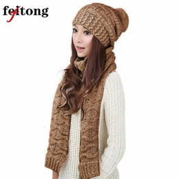 ab1fb3b27d5304 Feitong 1 Satz Frauen Schal und Hut Set Mode Warme Woolen Knit Hood Winter  Schal Und Kappe Hüte Für Frauen Anzug Bufandas günstige wollmütze schal  setzt