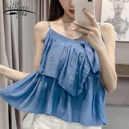 Camicetta senza maniche rosa online-new 2018 Summer sexy fionda Camicetta donna plus size Abbigliamento senza maniche donna Blusas Pink Blue donna top blusas D648 30