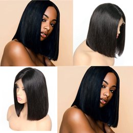 "Wholesale Silky Straight Lace Wigs - Straight Short Bob Wigs 8""~14"" Natural Color Brazilian Remy Hair Lace Front Human Hair Wig Bob For Black Women"