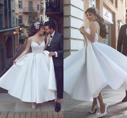 656fac4c742 vintage tea length sweetheart wedding dress Promo Codes - Chic Tea length  Wedding Dresses with A