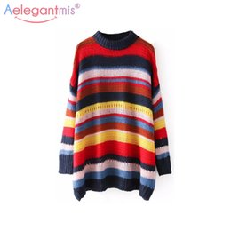 Wholesale Rainbow Stripe Sweater - Aelegantmis Fashion Rainbow Stripe Knitted Sweaters Women Pullovers Chic Loose Oversized Sweater Female Autumn Winter Jumpers