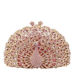 Wholesale gold prom handbags - Luxury Peacock shape Tote Women Handbag Brand Evening Clutch Bag Ladies Prom Party Purse Shoulder Bag gold blue pink black green