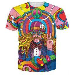 Tallas grandes ropa hippie online-2018 las más nuevas mujeres de la manera / Hippie para hombre músico divertido 3D imprimir camiseta ocasional del verano de manga corta Hip Hop Tops ropa más el tamaño