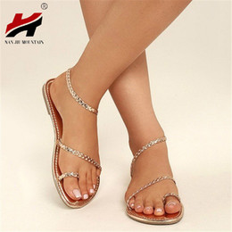 NAN JIU MOUNTAIN Shoes Woman 2018 Summer Beach Roman Wind Toe Woven Flat  Sandals Women s Shoes Plus Size 35-43 0a52c50b9e1f