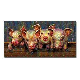 Wholesale Painted Glass Art - Hand Painted Modern Abstract Cartoon Animal Oil Painting On Canvas Pig Wearing Glasses Wall Art For Living Room Home Decor