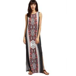 Wholesale Long Summer Womens Cotton Dresses - Women 2018 Dress High Fashionnova Cotton Linen Women Summer Long Dress for Party Hippie Clothing Maxi Robe Split Womens Plus Size Dresses