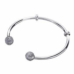 Wholesale 925 Sterling Silver Bead Caps - whole saleQuality Moments Open Bangle Pave Caps With Cubic Zirconia pan Bracelet Fit Women Bead Charm 925 Sterling Silver Jewelry