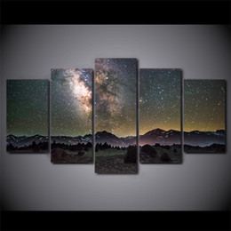 Wholesale Free Picture Printing - HD Printed 5 Piece Canvas Art Galaxy Night Starry Sky Modern Wall Pictures for Living Room Free Shipping
