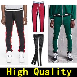 Wholesale New Hip Hop Pants - New joggers pants Mens Fear Of God Justin Bieber side zipper sweatpants Hip Hop casual Jogger pants 2018 Fifth Collection FOG track pants