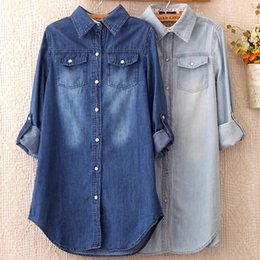 Wholesale Jean Woman Shirts - 2018 Summer Female Denim Long Shirts Feminina Women Casual Cotton Jean Blouse Women's Tops Turn-down Pockets Light Blue