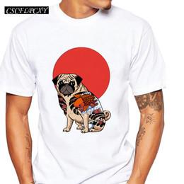 2019 tätowierungen tierdrucke Mode Yakuza Mops Männer T-Shirt Kurzarm lässig Tops Hipster Cartoon Tattoo Mops gedruckt lustige T-Shirts Tier cool teeC rabatt tätowierungen tierdrucke