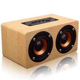 Wholesale Hifi Power Cable - W5 Wood Boombox Wooden Box Wireless Bluetooth Speaker 10W High Power Subwoofer 2000mAh Battery Support TF Card AUX Cable
