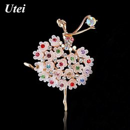 Wholesale Girls Indian Dance Costumes - New Arrival Fashion Design Pretty Ballet Dancer Brooch Stunning Multicolor Crystals Dancing girls' Elegant Corsage Graceful Lady Costume Pin