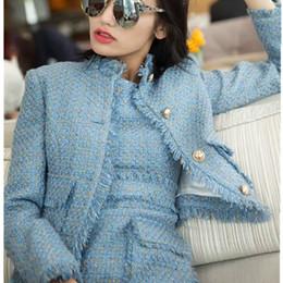 Casacos de grife on-line-Mulheres 2 peças conjuntos curtos vestido 2018 roupas de grife das mulheres azul e rosa casaco de tweed casaco + duas peças sem mangas borla conjuntos de vestido