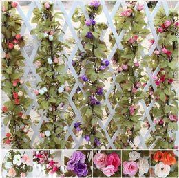 230cm Decorazioni di nozze Rose di seta finte Ivy Vine Fiori artificiali con foglie verdi Hanging Ghirlanda per la decorazione domestica Commercio all'ingrosso da
