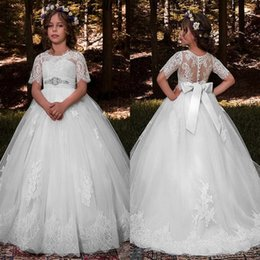 Wholesale Garden Wedding Flower Girl Dresses - Flower Girls Dresses 2018 Garden Summer Weddings Kids Formal Wear Lace Appliques Short Sleeves Beaded Bow Sash Princess Girl Pageant Dress