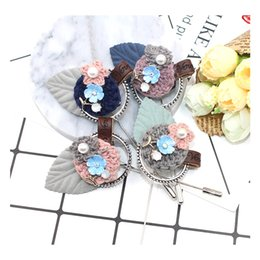Wholesale Large Handmade Flowers - Fashion Women large crystal long pins Faux Wool Fabric Flower Brooch pins Handmade Costume Accessories Big Brooches for Ladies