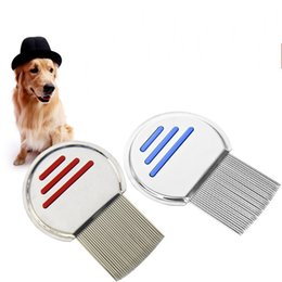 Wholesale Grooming Dogs - Round Lice Comb Non Slip Handle Nit Free Pet Dog Cat Louse Flea Remove Brush Stainless Steel Grooming Tools Durable 4 7ht X