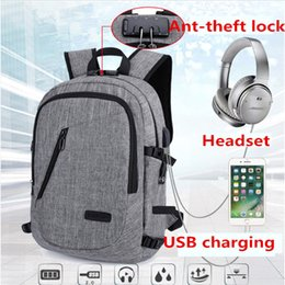 Wholesale Interface Travel - fashion computer backpacks Outdoor travel bags USB charging headphone Interface Anti-theft lock very very hot backpacks high quality