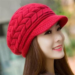 Chapéu de fio de pele de coelho on-line-Lady Moda Gorros De Malha Pele De Coelho No Interior do Fio De Lã Engrossado Quente Outono Inverno Mulheres Chapéu Cor Sólida